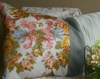 Cushion 60x40 blue green pink yellow floral