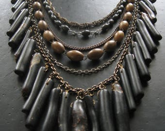 Black Coral and Vintage Rosary Bead Statement Necklace - High Priestess Bib No. 13