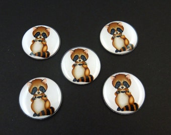 5 LARGE Raccoon Buttons. Handmade By Me  Buttons for Sewing. Racoon Woodland Animal 1 inch or 25 mm Round. Washer and Dryer Safe.
