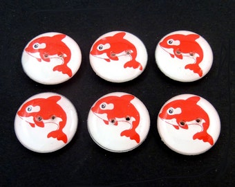 """6  Red Killer Whale Buttons. Handmade Killer Whale or Orca Buttons. 3/4"""" or 20 mm.  Ocean themed buttons."""