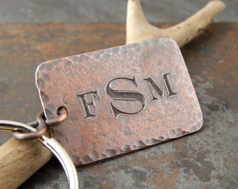 Monogrammed keychain, Father's Day gift, personalized gifts for him, engraved copper key fob with monogram, guy gifts, 1 inch x 1.5 inches.