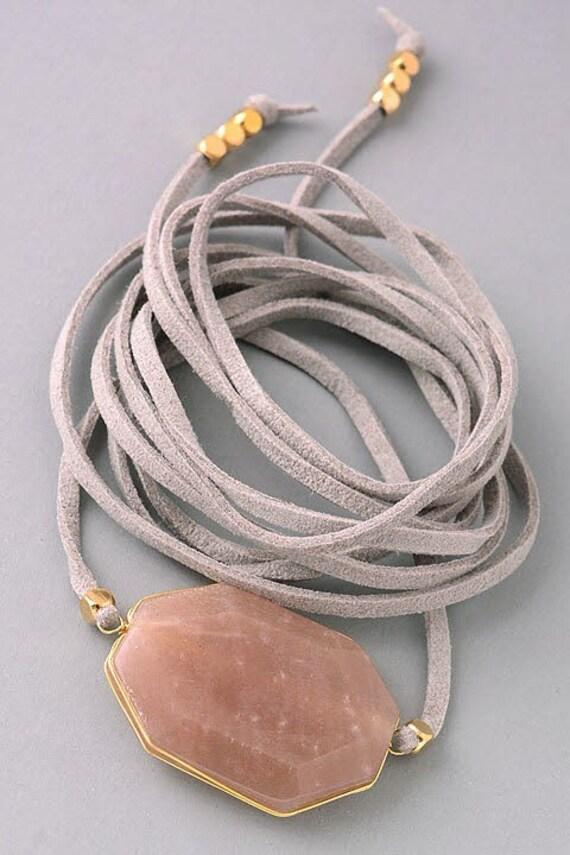 LEATHER WRAP BRACELET- essential oil diffuser jewelry / boho jewelry