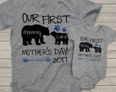 First Mothers Day mommy baby bear matching shirt and bodysuit gift set - great gift for Mothers Day MDBS