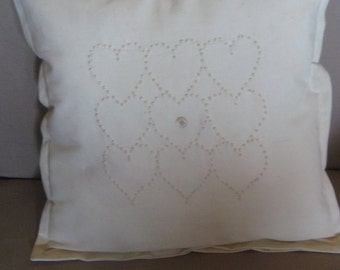 Vintage Candlewick Heart Pillow