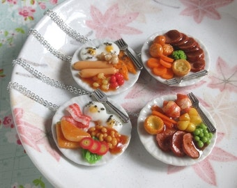 Miniature Food Necklace, Sunday Brunch, Silver Chain, Bacon Sunny Egg Ham Sausage Toast Tomato, Quirky Jewelry