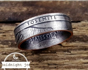 Coin Ring Yosemite National Park Quarter Coin Ring Double Sided Coin Ring California Coin Ring
