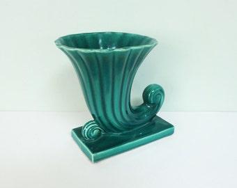 1940s Shawnee Pottery Cornucopia Vase in Dark Green