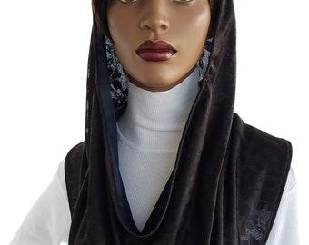 Koul SHôl™ Head Hoodie Black Jersey Knit Cowl Hoodie Fully Lined Veil Devotional Head Hoodie Veil Hoodie Hijab Hoodie Handmade
