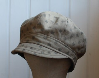 Daria L: Military green slouchy hat with subtle print for women or men, sun hat made from recycled materials, lightweight beach hat, newsie