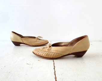 Vintage Leather Wedges | 80s Shoes | Buff Leather | Wedge Shoes | Size 8 1/2