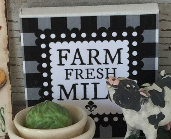 "Miniature Farm Fresh Milk  Miniature Canvas Sign 2"" x 2"""