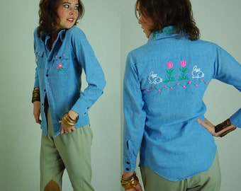 Western Shirt Vintage Light Blue Chambray Denim Embroidered Western Button Up Shirt (s)