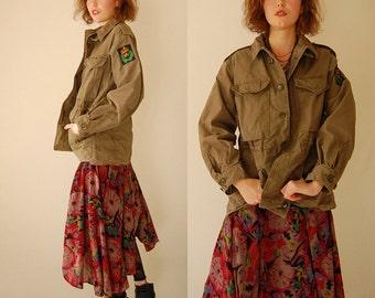 Army Parka Coat Vintage Drab Olive Green Canvas Heavy Duty John Lennon Parka Coat (m l)