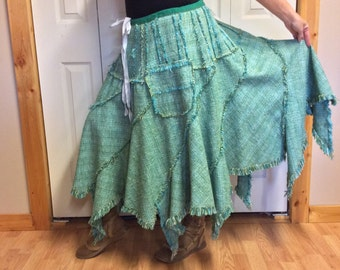 Woodland Handkerchief Skirt with Pockets/Hippie/Gypsy/Festival/Uneven/Long/Fringed Teal Green Burlap/Woven Tweed/Womens Size Large to XL