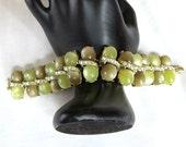 Moonglow Cabochons Bracelet Green Lucite & Aurora Borealis Rhinestones Vintage Signed Kramer