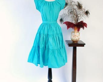 Vintage 1950s Patio Dress Set - Bright Turquoise Cotton 50s Skirt and Peasant Blouse Set