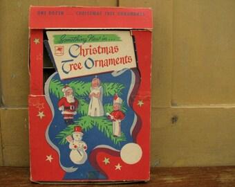 Vintage Advertising Box Christmas Tree Wax Ornaments Wonderful Graphics Mid Century Holiday Home Decor