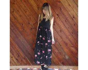 Black Rib Sleeveless Floral Maxi Dress - Vintage 90s - S/M