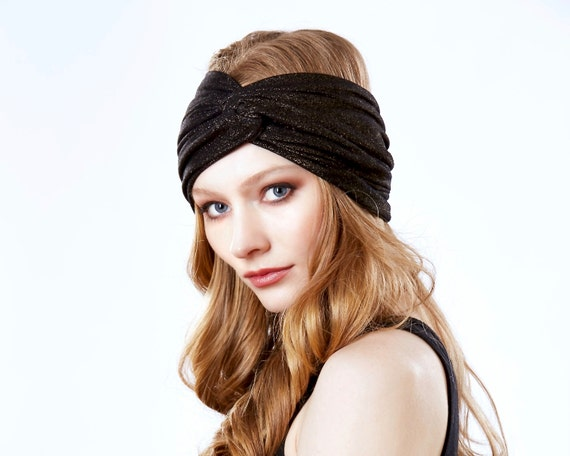 Turban Headband Turband Headwrap Hair Accessory Black Gold Headband Boho Chic Spring Accessory 1920s Headband Spring Fashion Turban Hat