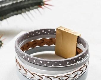 Vista Bracelet, Layered Leather Bracelet, Layered Bracelet, Layered Cuff Bracelet, Stacking Bracelet, Stacking Cuff, Colorful Leather