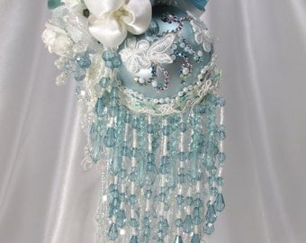 Aqua, Crystal AB and White Beaded Victorian Ornament with 165 hand set Swarvoski Crystals
