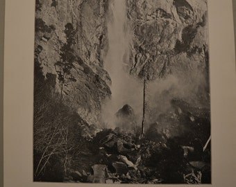 1894 Photography of America - Bridal Veil Falls Yosemite California - Antique Victorian Era Fine Art for Framing 100 Years Old