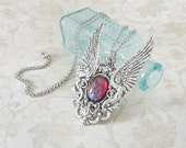 Eye of the Phoenix - Angel Wing Necklace, Dragons Breath Opal, Steampunk Jewelry, Statement Necklace, Pendant Necklace, Gothic Jewelry