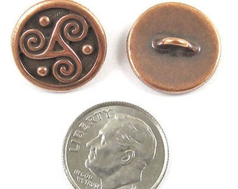 TierraCast Pewter Celtic Buttons-COPPER TRISKELE SPIRAL (2)
