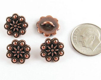 TierraCast Pewter Buttons-Antique Copper CZECH ROSETTE (4)
