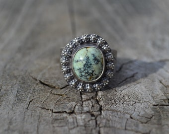Neptune Veriscite Oxidized Sterling Silver Ring with Arrows Ready to Ship Size 9 1/2