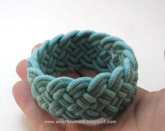 blue on blue rope bracelet hand knotted armband turks head knot bracelet sailor bracelet cotton cord cuff turquoise teal 3484