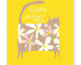 Happy Mother's Day Card - Cat - Flower Power - Cat Mom Card