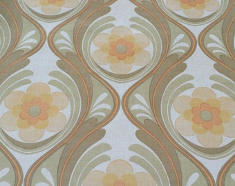 FULL RoLL vintage WALLPAPER 1970s / original 70s papier peint / floral design wall paper new Old Stock seventies