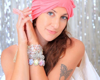 Womens Turban with Bow - Coral Pink Headwrap - Fashion Hair Covering - Lots of Colors