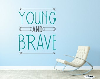 Young and Brave with arrows aztec boho wall decal DB433