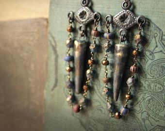Erebus Holt Storyteller Earrings. Rustic, Bohemian, Primitve, Artisan Porcelain & Czech Glass Chandelier Earrings.