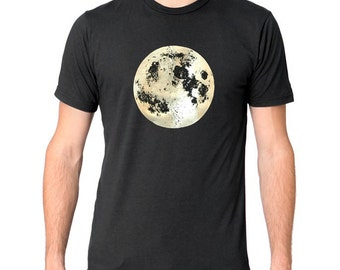 Space Moon T-Shirt, Mens Moon tShirt, Full Moon t-shirt, Gold Moon shirt, Pearl Moon Shirt, Organic Clothing, Astronomy shirt, Moon Print