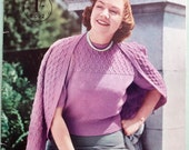 Vintage 40s 50s Knitting Book - Large Sizes by Stitchcraft  UK - 1940s 1950s knitting patterns - women's sweaters jumpers cardigans lingerie
