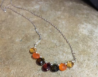 Wire wrapped sterling silver mixed gemstone necklace!