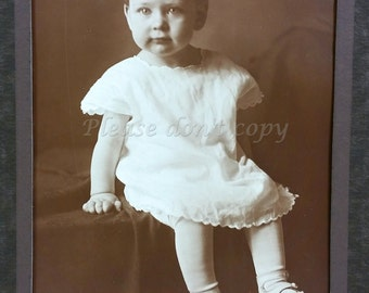Baby Girl Photo Sweet Little Girl in White Antique Portrait Instant Ancestors