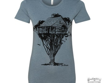 Womens TREEHOUSE Cabin t shirt -hand screen printed s m l xl xxl (+ Colors Available)