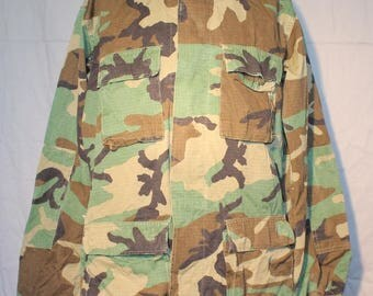 Vintage US Military Hot Weather Coat, Woodland Pattern Camo, Cotton