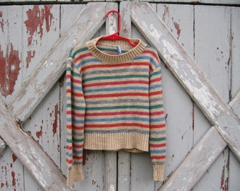 May Knit - 1970s kids striped sweater 5/6 7/8 unisex