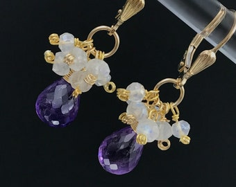 Amethyst Cluster Earrings Wire Wrap Moonstone Gemstone Cluster 14k Gold Fill Leverback Earrings February Birthstone Valentines Gift for Her
