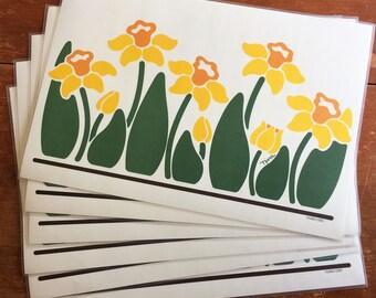Vintage NINA Flower Placemats, Set of Six Tulips, Daffodils, Retro Kitchen Decor 1983