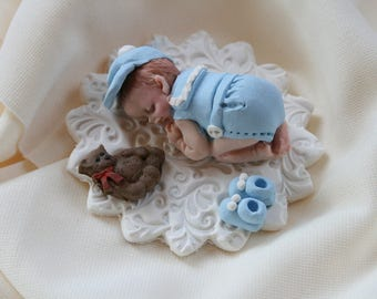 Sleeping Baby Boy in Blue Cake Topper, Polymer Clay Ornament, Baby Shower Favor Gift