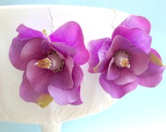 Silk Flower Earrings - Violets with Pearls and Crystal on Silver Wire