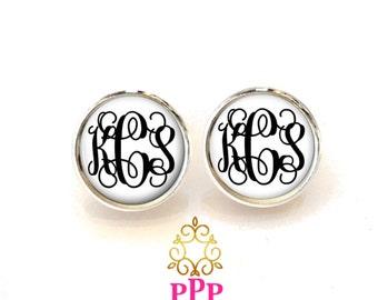 Monogram Earrings White Black  (374)