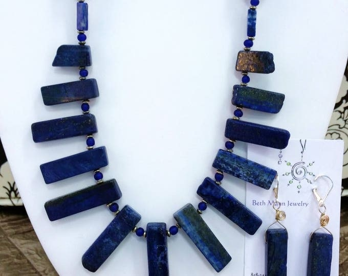 Celestial Blue Lapis Lazuli Necklace and Earrings