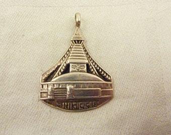 Vintage Sterling Silver Stupa Pendant